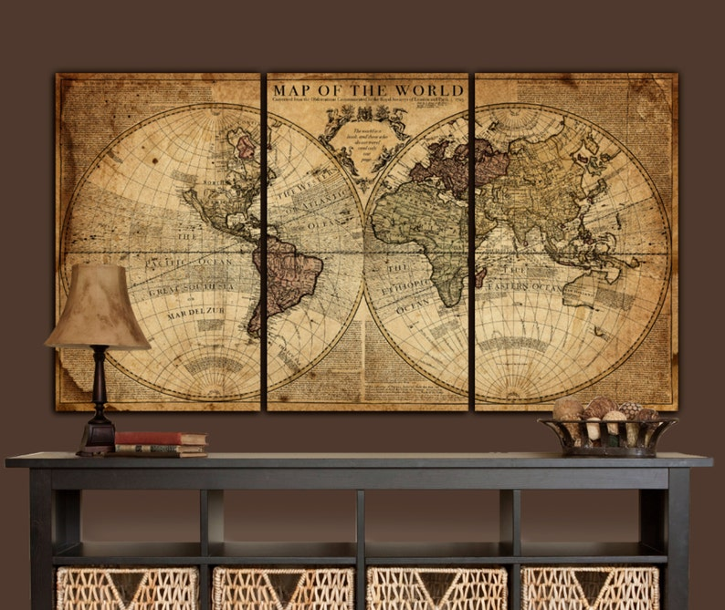 Globe Tan Map World Map Canvas, Vintage map art, Brown \u0026 Gold Map of World,  Canvas Map, Royal Societys World Map, 1700s Large Map Decor