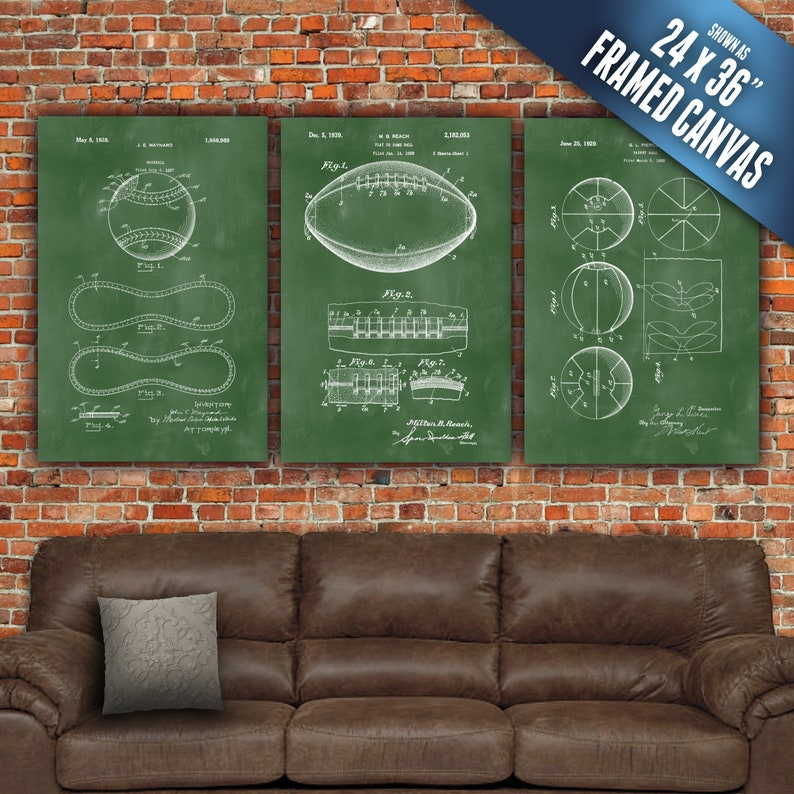 Sports Art Patent Prints on Canvas. Frame Ready to hang. Large image 0
