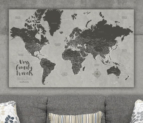 Taupe Textured Push Pin World Map Canvas, Push Pin Map, Travel Gift, Push  pin Travel Map World, Pushpin World Map, World Travel Map Push Pin