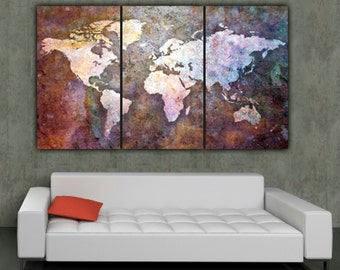 Globe tan map world map canvas vintage map set large wall world map art on canvas multi color 3 panel large canvas set world gumiabroncs Gallery