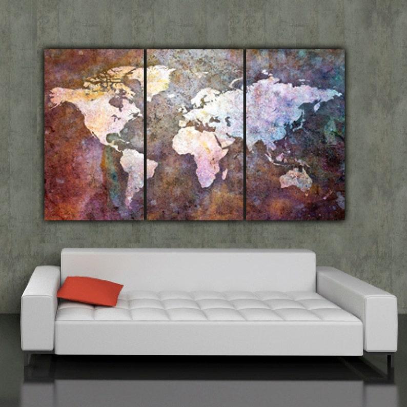 World Map Art On Canvas Multi Color 3 Panel Large Canvas Set Etsy