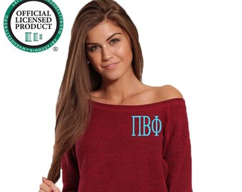 Pi Beta Phi Sweatshirt, Monogrammed Pullover, Monogrammed Off Shoulder Sweatshirt, Wide Neck Sweatshirt, Phi Beta Phi Pullover