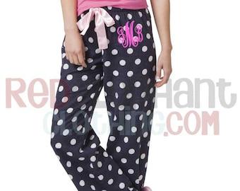 Monogram Flannel Pants, Monogrammed Pajama Pants, Monogram Sleepwear, Personalized Bridesmaid Gift, Monogram Loungewear, Personalized Pants