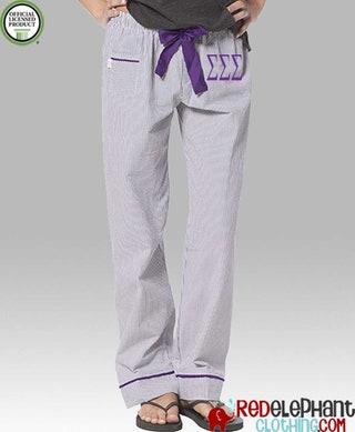 Sigma Sigma Sigma Seersucker Pajamas, Tri Sig Lounge Pant, Sorority Sleepwear, Sorority Pajama Pant, Greek Pajamas, Tri Sigma Pajama Pants