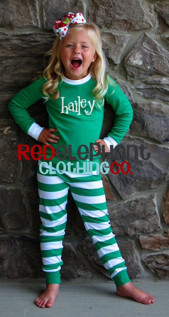 Monogrammed Christmas Pajamas Kids Christmas Pajamas Family | Etsy