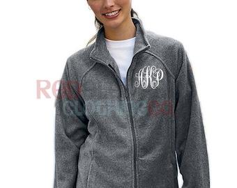 Monogram Full Zip Jacket, Personalized Fleece Jacket, Custom Embroidered Full Zip Jacket for Ladies, Bridesmaid Proposal Gift for Her, Teens