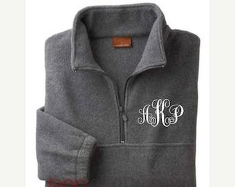 Monogram Fleece Pullover, Personalized Monogram Sweatshirt, Oversized Sweater for Women,Fleece Sweater, Custom Half-Zip Jacket, Adult UNISEX