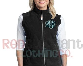 Monogram Sherpa Vest, Monogram Fleece Vest, Monogrammed Vests, Sherpa Fleece Vest, Personalized Sherpa,Monogam Full Zip,