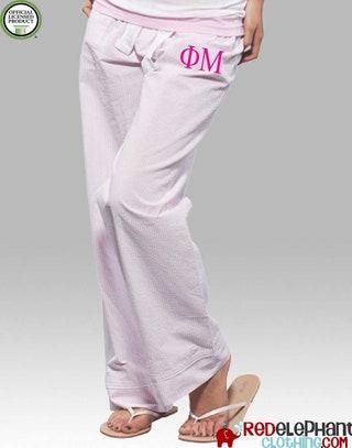 Phi Mu Pajamas, Phi Mu Lounge Pant, Phi Mu Sorority Sleepwear, Phi Mu Sorority Pajama Pant, Greek Pajamas, Phi Mu Pajama Pants, Seersucker