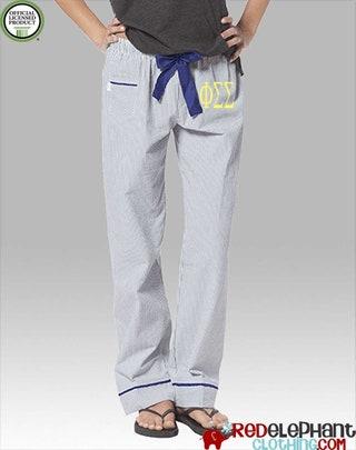 Phi Sigma Sigma Seersucker Pajamas, Phi Sig Lounge Pant, Sorority Sleepwear, Sorority Pajama Pant, Greek Pajamas, Phi Sig Pajama Pants