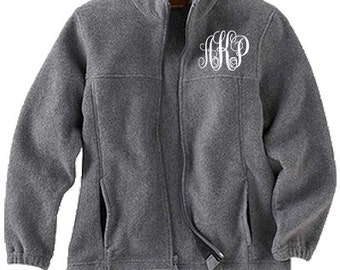 Monogrammed Full Zip Jacket, Monogrammed Fleece Jacket, Personalized Jacket for Kids or Adults in Unisex Fit for Men, Ladies, Boys and Girls