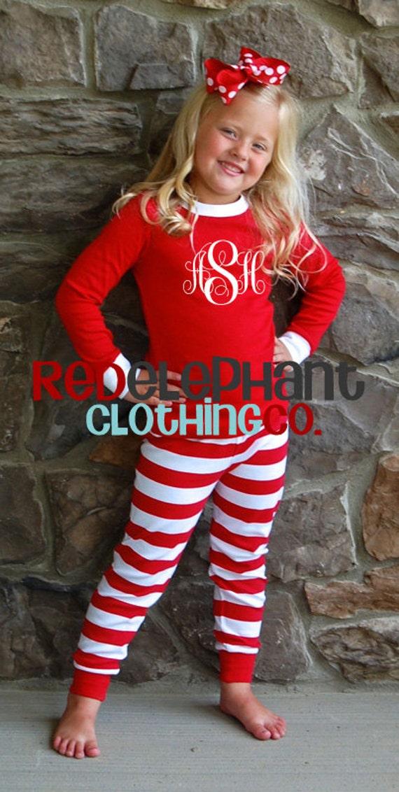 Monogrammed Christmas Pajamas Kids Christmas Pajamas Family   Etsy
