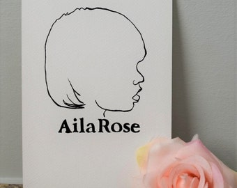 Ink Silhouette Portraits, Personalized