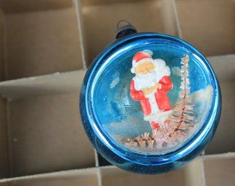 Vintage Indent Christmas Diorama Ornaments, Santa with Bottlebrush Tree, Turquoise