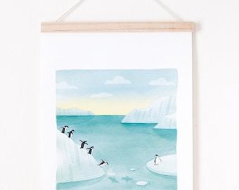 penguin print, colorful landscape art print, Landscape giclee print, giclee art print A4