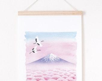 Japan print, pink landscape illustration, pink landscape print, mount fuji, Landscape giclee print, giclee art print A4
