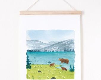 travel illustration, colorful landscape art print, Landscape giclee print, giclee art print A4