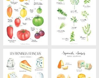 Food Print Wall Art, Colorful Kitchen Art, Kitchen Poster Set, Kitchen Print  Set, Kitchen Art Print Set, Food Print Set, Set Of 4 Prints