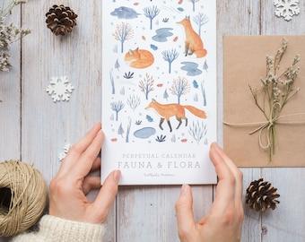 Birthday calendar, Perpetual Calendar, perpetual birthday calendar, Animal calendar, Gift for animal lover, Fauna & Flora Calendar
