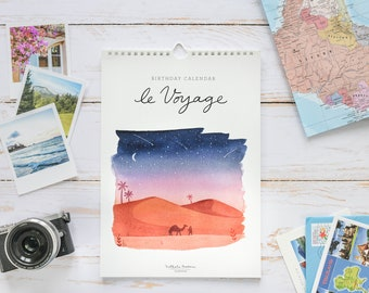 Gift for traveler, gift for travel lover, Wall calendar, perpetual Calendar, perpetual birthday calendar, birthday calendar, travel calendar