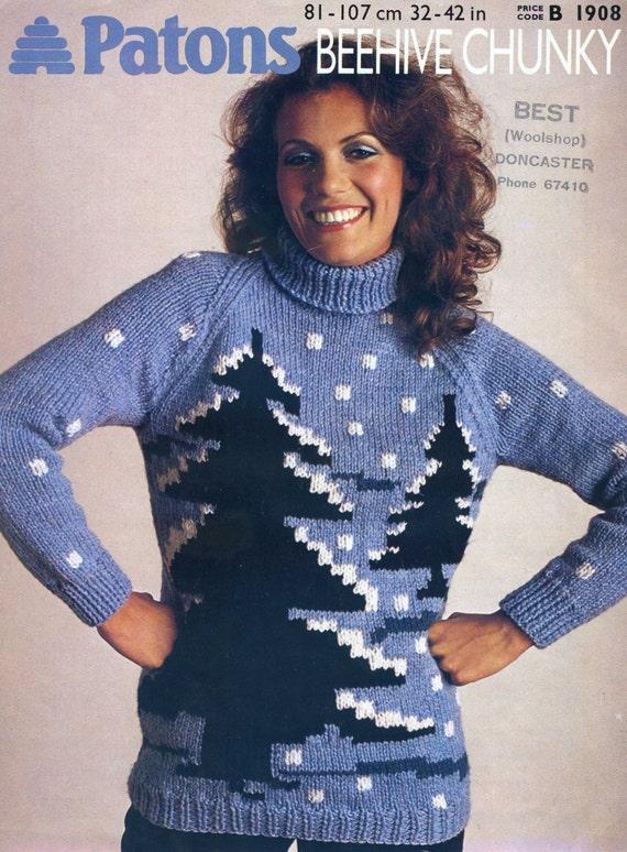 Vintage Christmas Jumper Knitting Pattern Novelty Pdf Instant Etsy