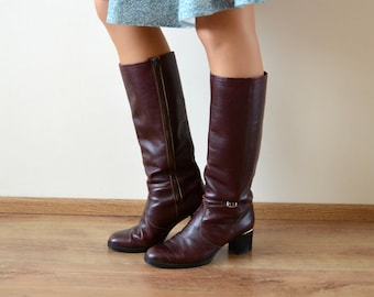 738926da157 Heels Leather Boots Womens Vintage 1980s Cherry Red Boots Size 8 1 2