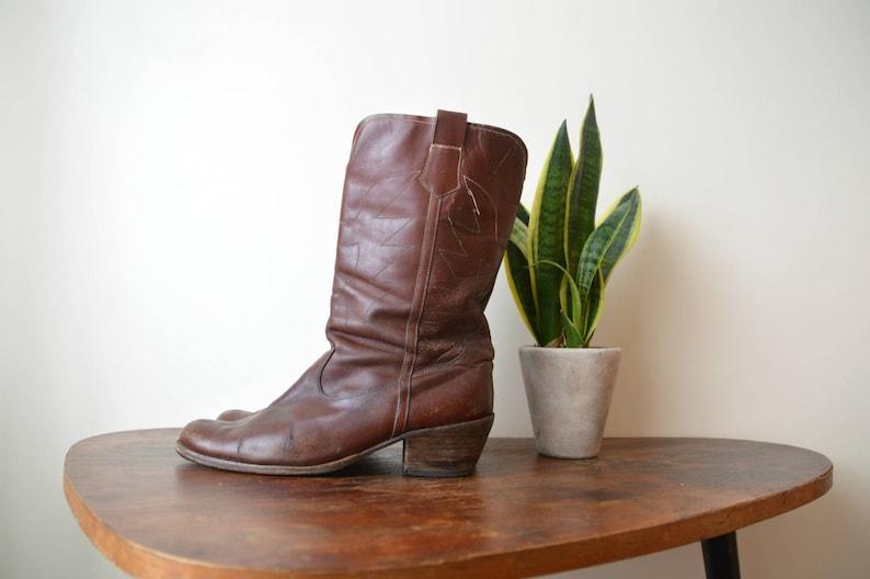 91f8161b5c1 Vintage Distressed Boots Classic Cowboy Dark Reddish Brown