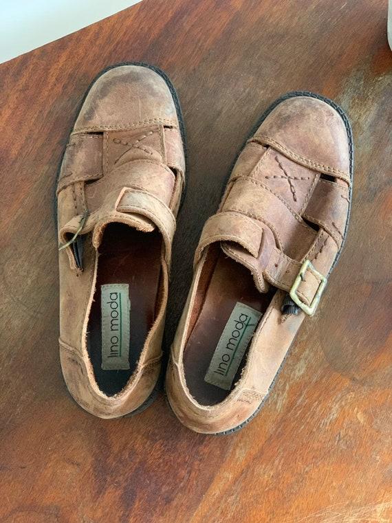 Men's Leather Sandals 90s Vintage  Brown Huarache… - image 2