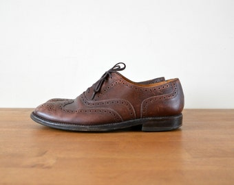 Oxfords Shoes Vintage Brown Leather Brogues 80s Loafers Size US 10 EU 44
