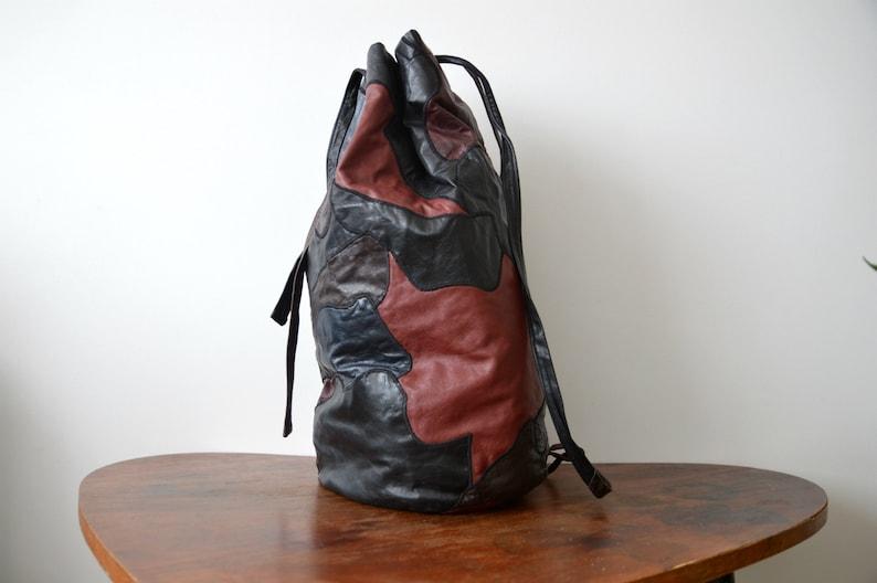 Vintage Backpack Travel Shoulder Bag Patchwork Large Overnighter