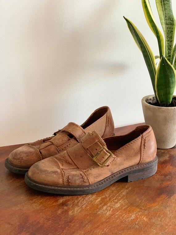 Men's Leather Sandals 90s Vintage  Brown Huarache… - image 5