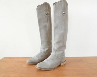 Womens Suede Boots // Silver Gray Vintage Dress Tall Leather Boots // Size US 8 1/2 EU 39