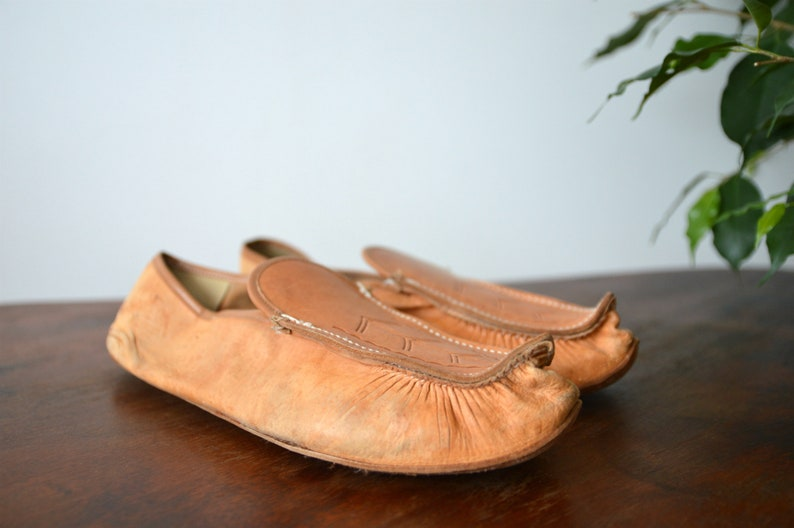 Flat Tan Leather Vintage Slippers Mens Slippers Size 42
