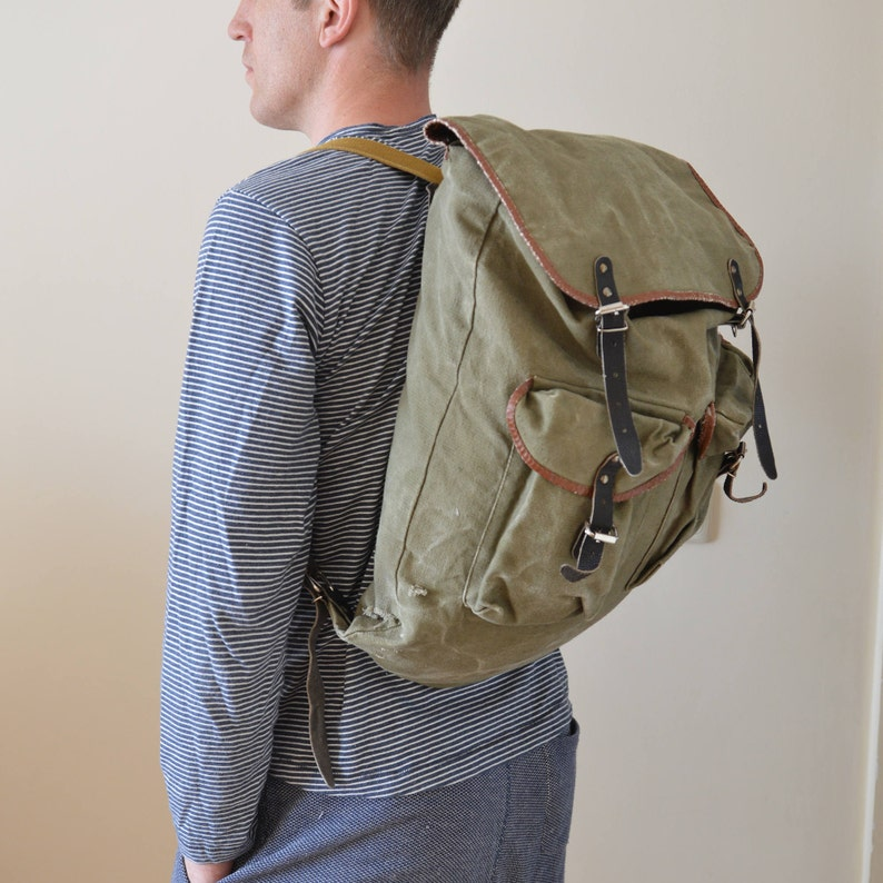 Vintage Backpack Military Green Canvas Bag 1980s Hiking Distressed Bag