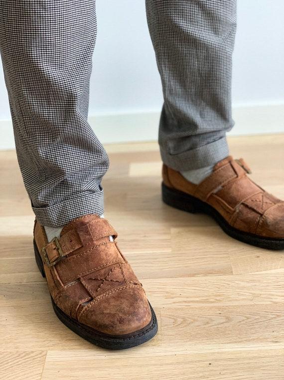Men's Leather Sandals 90s Vintage  Brown Huarache… - image 3