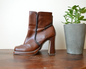 High Heels Boots, 90s Leather Boots, Platform Ankle, Spring Fashion Boots