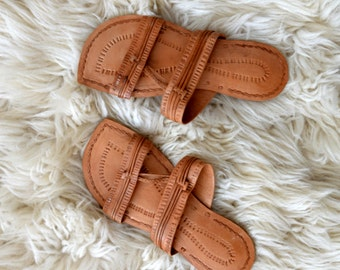 Tan Leather Sandals // 1990s Slip On Womens Summer Brown Sandals