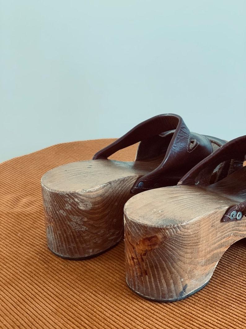 Wooden Platform Hippie Clogs Womens 70s Vintage Leather Shoes US 8,5 EU 39 UK 6