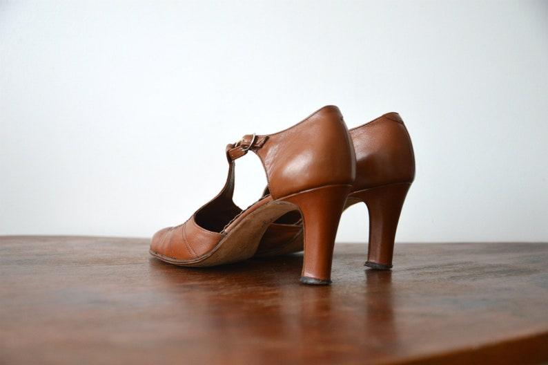 cba5e5abfda56 Leather High Heel Shoes Brown Womens 80s Vintage Dance Shoes Size EU 38,5