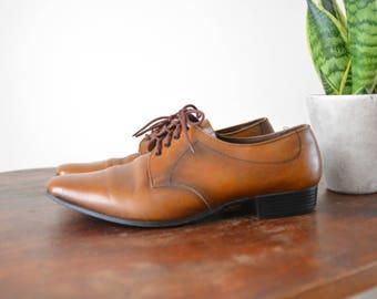 Brogues Shoes  Vintage Brown Leather Shoes Mens Size US 8 1/2 UK8 EU 42