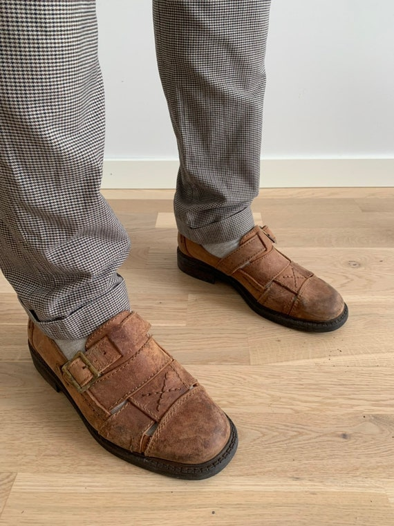 Men's Leather Sandals 90s Vintage  Brown Huarache… - image 4