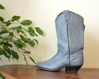 Tooled Cowboy Boots Western Blue/Gray Ankle  Boots Women Size US 6M /36 EU Vintage Leather Cowboy Boots