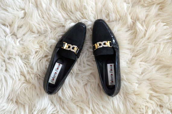 Vintage Black Gold Buckle Loafers Flats