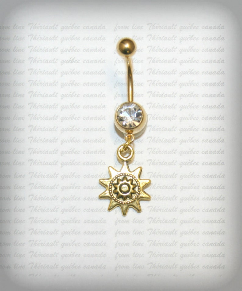 Golden Belly Bar Belly Button Jewelry Navel Piercing Bar Barbell Belly Bar Navel Bar Belly Piercing Sun