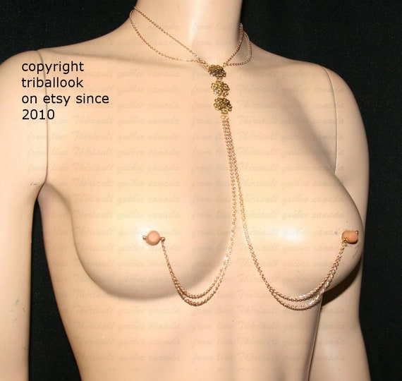 amazon vendita limitata goditi un grande sconto Gioielli per il seno trafitto con catene dorate
