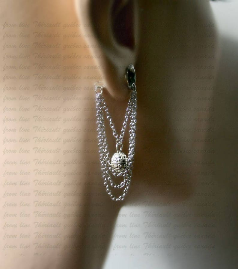 Dangle gauges silver tunnel Ear plugs Tunnel with pendant Wedding plugs m8 Bridal plugs