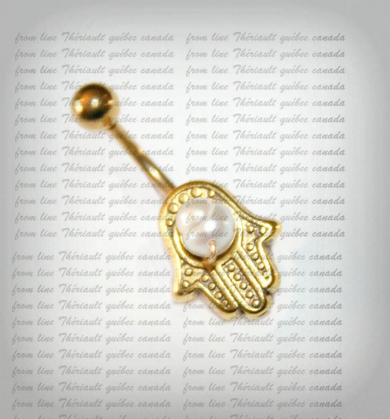 Golden Belly Bar Belly Button Jewelry Navel Piercing Bar Barbell Belly Bar Navel Bar Belly Piercing Hamsa