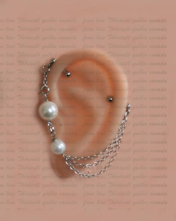 Jewelry Industrial Barbell m24+pearl Industrial bar earring Industrial Industrial piercing with a fresh water pearl