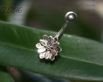Lotus flower - Belly Button - barbell Jewelry  Navel Piercing  Bar Barbell