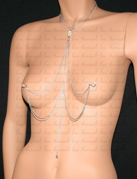 stile alla moda nessuna tassa di vendita più economico Gioielli per il seno trafitto con catena d'argento (m26)
